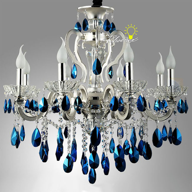 Amazing Blue Crystal Chandelier Light Modern Peacock Blue Crystal Chandelier In Silver Finish 8716