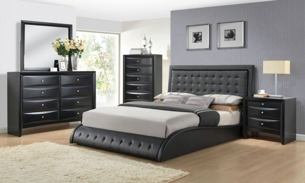 Amazing Contemporary King Bedroom Sets Bedroom Design Ideas Acme Tirrel 4pcs Black Pu Wood Queen
