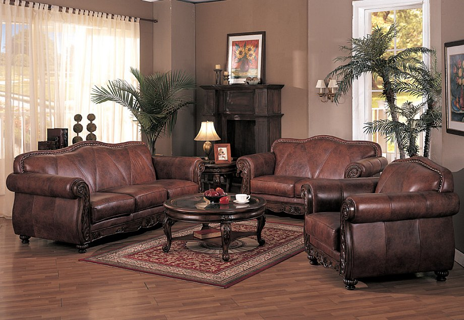 Amazing Leather Living Room Traditional Sofa Set For The Living Room 10570