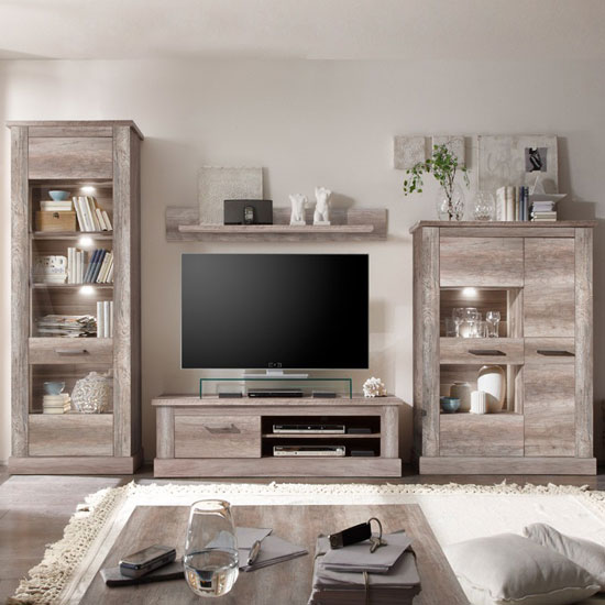 Amazing Oak Living Room Furniture Montreal Living Room Furniture Set In Canyon Oak With Led Light