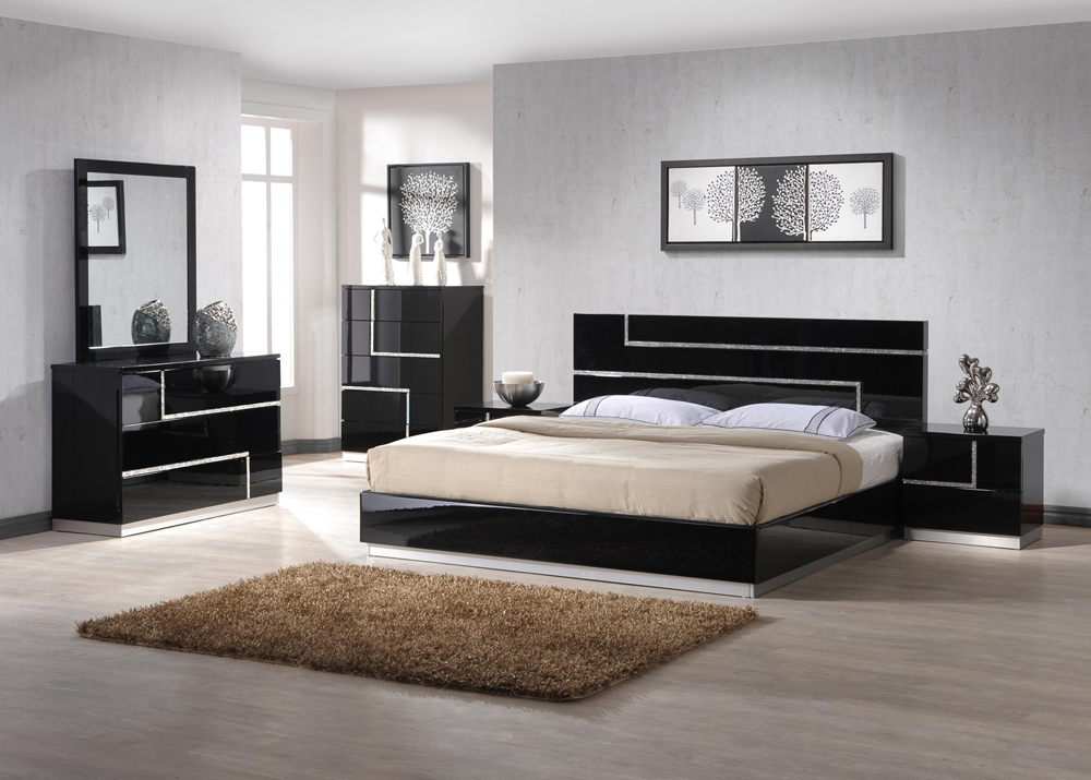 Amazing of Black Contemporary Bedroom Sets De Anjie King Size Modern Black Crystal Bedroom Set 5pc Ebay