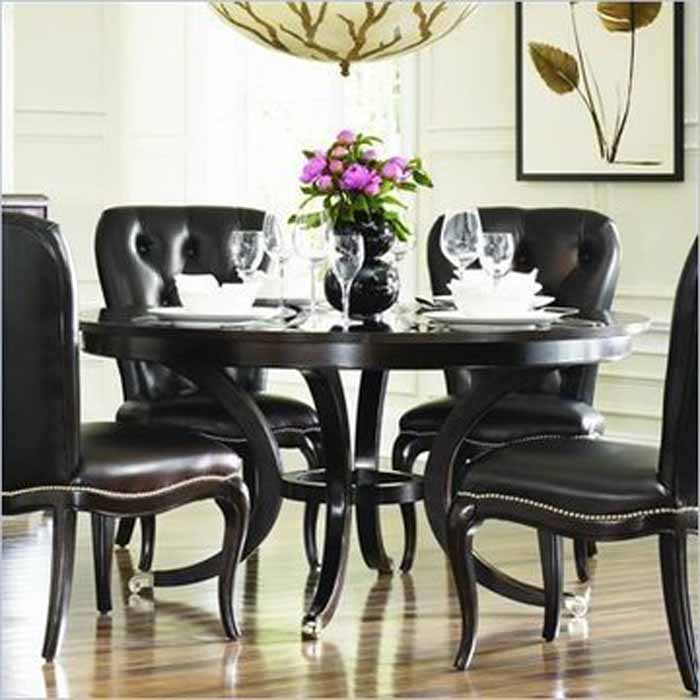 Amazing of Black Formal Dining Room Table Round Black Dining Room Table Marceladickcom Full Circle