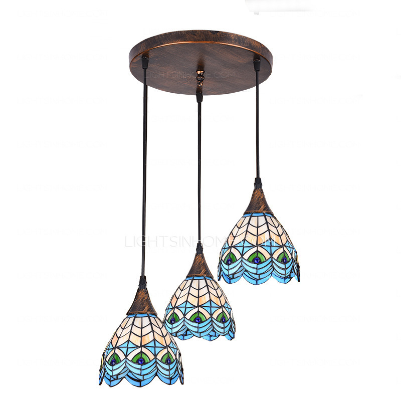 Amazing of High End Pendant Lights End Peacock Pattern 3 Light Tiffany Pendant Lights