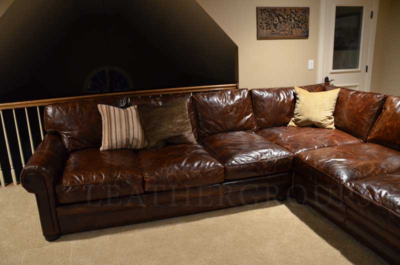 Amazing of Leather Sectional Sofa Alluring Worn Leather ...