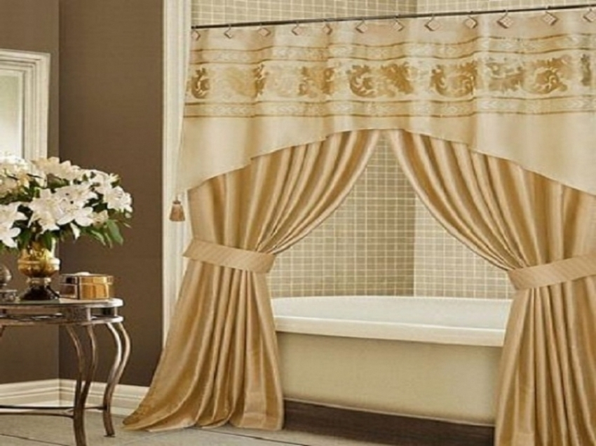 Amazing of Luxury Bathroom Curtains Luxury Shower Curtains With Valance Pmcshop Design Bathroom