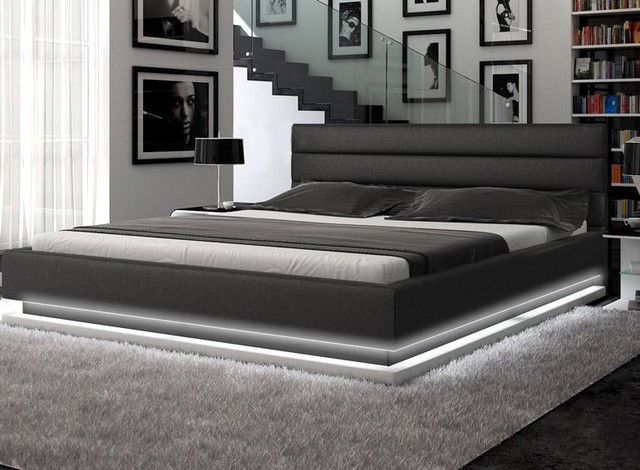Amazing of Modern Leather Bed Contemporary Black Leather Platform Bed With Lights Contemporary