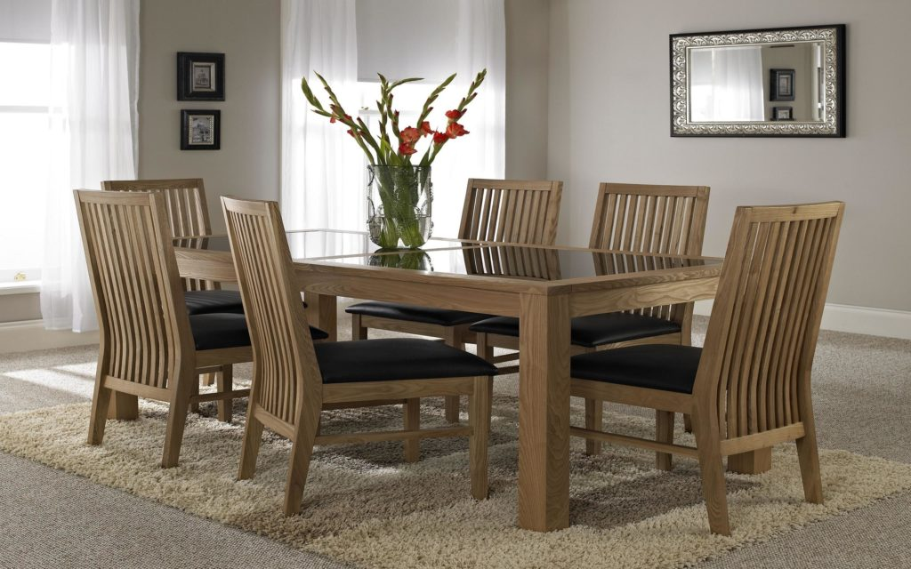 Amazing of Wooden Glass Dining Table Designs Home Design Glass Dining Table With Black Painted Wooden Legs On