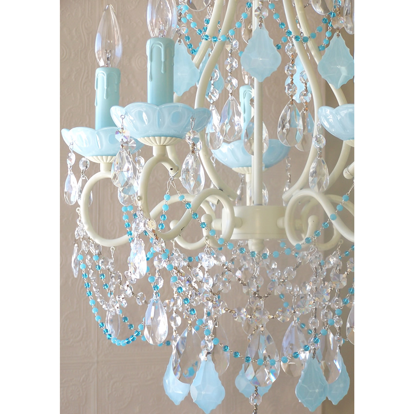 Attractive Blue Crystal Chandelier Light 5 Light Beaded Chandelier With Opal Aqua Blue Crystals