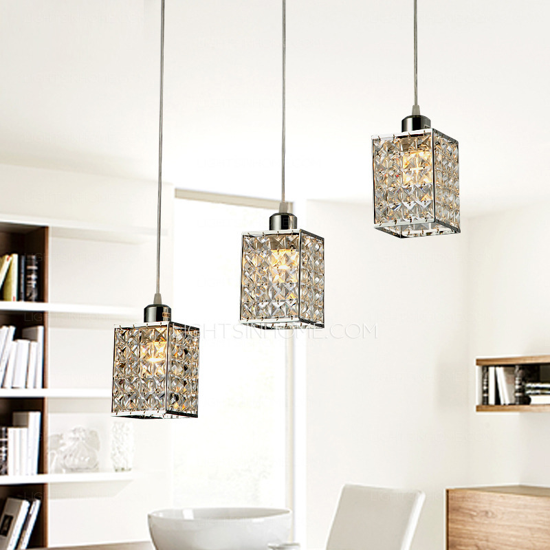 Attractive Ceiling Hanging Lights For Living Room 3 Lights Commercial Pendant Lights Metal Crystal For Living Room
