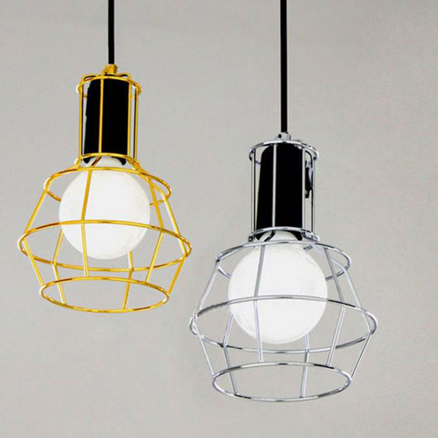 Attractive Ceiling Mounted Pendant Lights Art Deco Vintage Industrial Metal Wire Cage Pendant Light Guard