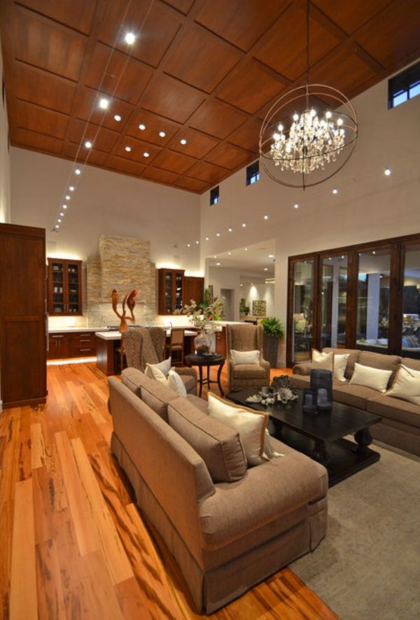 Attractive High Ceiling Lighting Impressive High Wooden Ceiling With Artistic Pendant Lights For