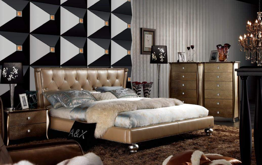 Attractive High End Contemporary Bedroom Furniture Extravagant Leather High End Bedroom Sets Feat Gold Upholstery