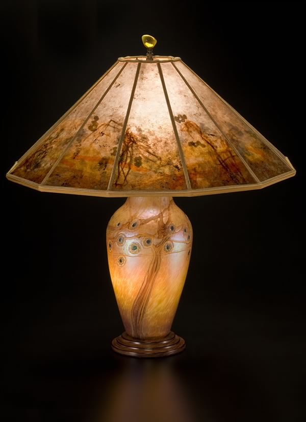 Attractive Lamps And Lighting Lindsay Fine Art Glass Lamp And Art Mica Lamp Shade Desert Tree