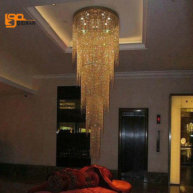 Attractive Long Crystal Chandelier New Design Long Modern Crystal Chandelier Led Light 5 Layers