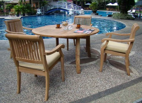 Attractive Luxury Teak Patio Furniture 5 Piece Luxurious Grade A Teak Dining Set 48 Inch Round Table
