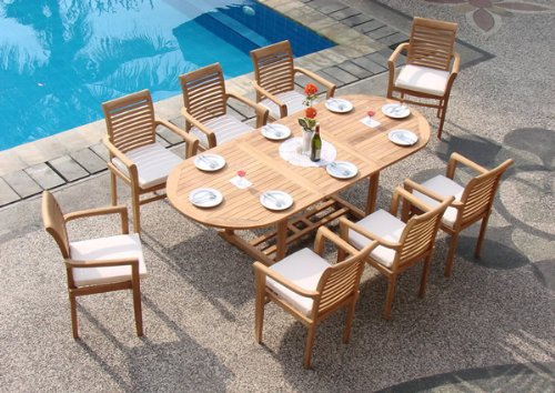 Attractive Luxury Teak Patio Furniture 9 Pc Luxurious Grade A Teak Dining Set Teak Patio Furniture World