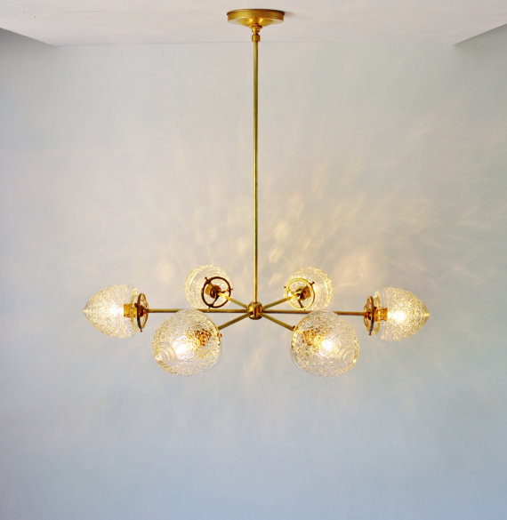 Attractive Modern Brass Chandelier Modern Brass Chandelier With Clear Glass Acorn Shades 6