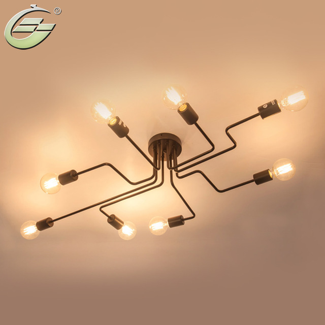 Awesome Bar Ceiling Lights 48 Heads Vintage Wrought Iron Multiple Rod Ceiling Lamp Retro