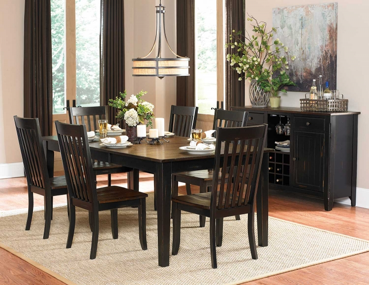 Awesome Black And Brown Dining Room Sets Homelegance Three Falls Rectangular Dining Table Two Tone Dark