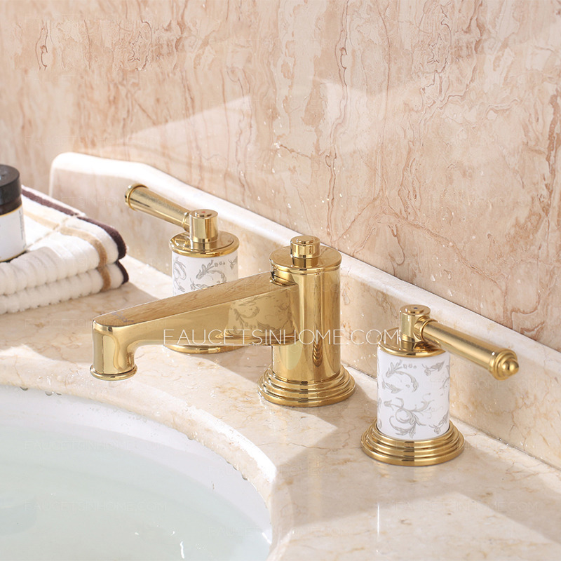 Awesome Luxury Bathroom Faucets Luxury Polished Brass Three Hole Gold Bathroom Sink Faucet