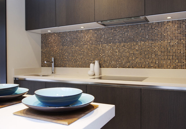 Awesome Luxury Kitchen Tiles Luxury Kitchen Featuring Emperador Marble Mosaic Splash Back