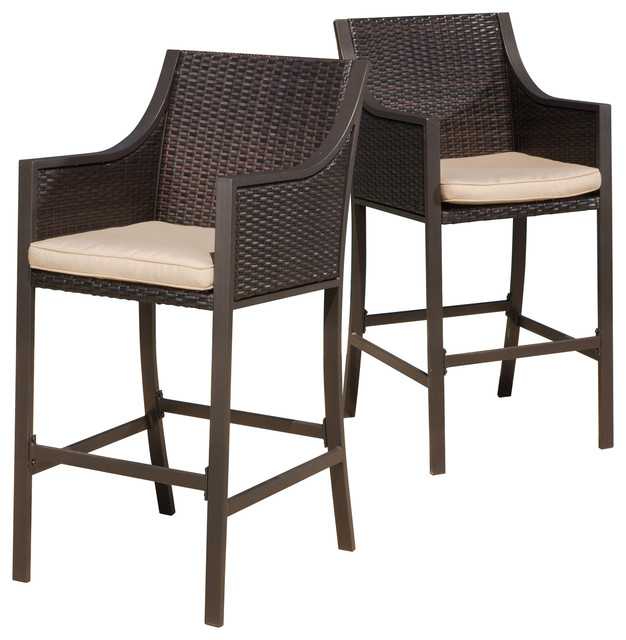 Awesome Modern Outdoor Stools Rani Brown Outdoor Bar Stools Set Of 2 Contemporary Outdoor With
