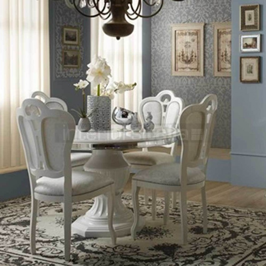 Beautiful Italian White Dining Table Classic Italian Round Dining Set Greta Clearance Sale Intended For