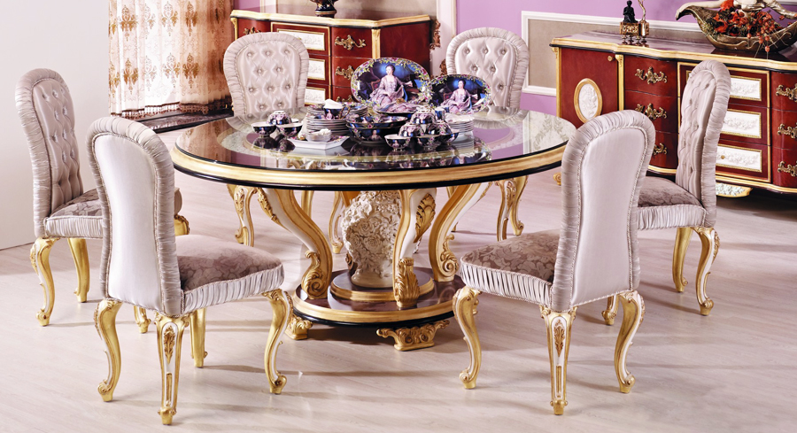 Beautiful Luxury Round Dining Table Luxury European Style Woodcarving Round Dining Table In Dining