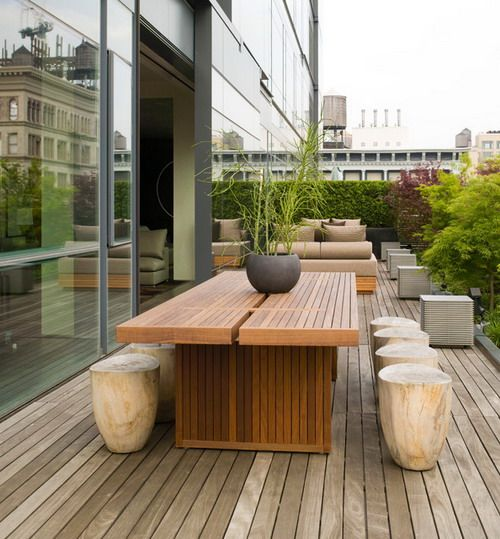 Beautiful Modern Wood Patio Furniture Long Wooden Table And Stone Chairs Sets With Beautiful Garden In