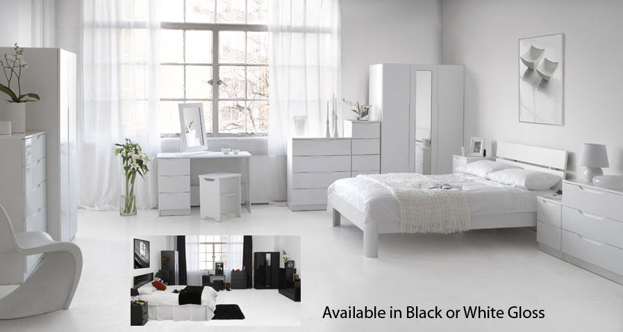 Beautiful White High Gloss Bedroom Furniture Interesting Throughout Decor
