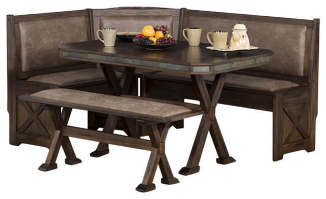 Best Kitchen Nook Set Savannah Breakfast Nook Set With Side Bench Traditional Dining