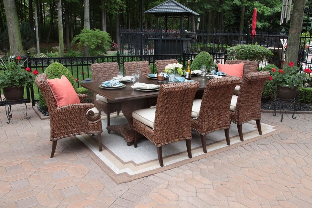 Best Luxury Outdoor Dining Chairs Aerin Collection All Weather Wicker Luxury Patio Furniture 8