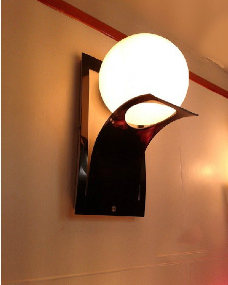 Best Modern Black Light Fixtures Modern Lamp Wall Lamp Metal Frame Glass Ball Paint Red And Black