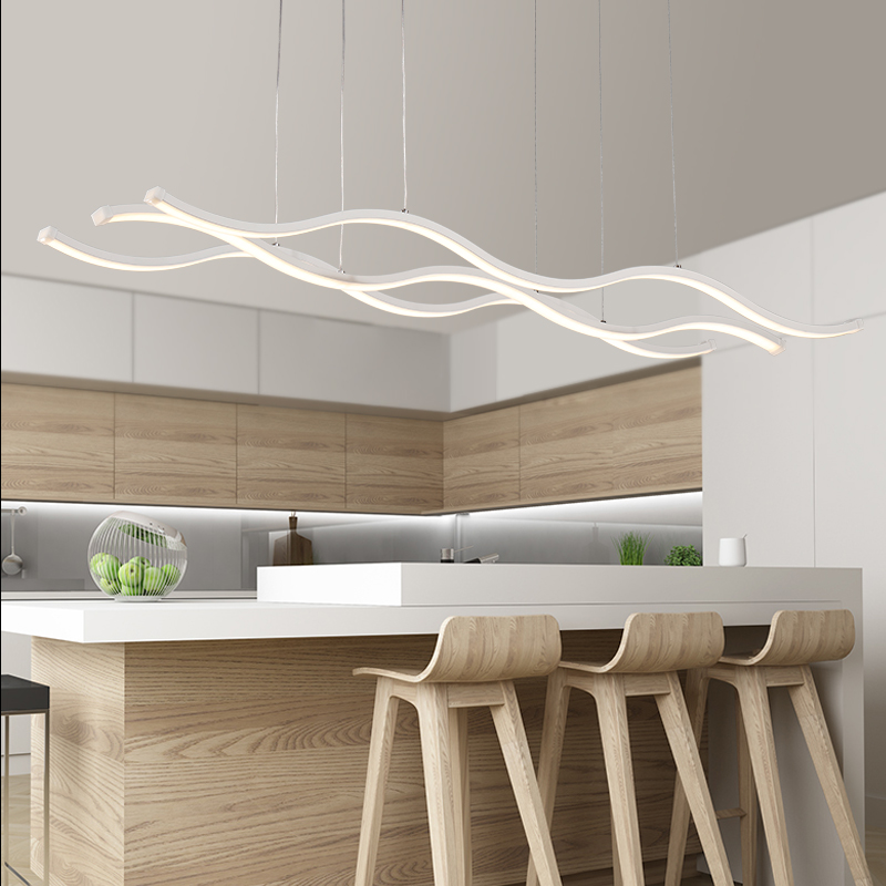 Best Modern Led Lighting Modern 3 Wave Pendant Ceiling Light Fixture Bright 70 Watt Led