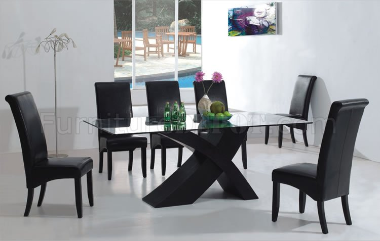 Brilliant Black Dining Room Set 7pc Modern Dining Room Set Wblack X Shape Legs Glass Top