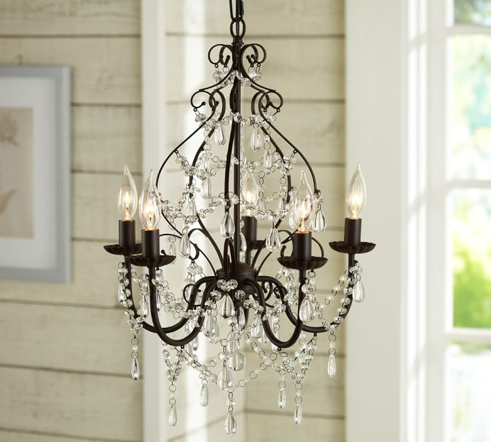 Brilliant Bronze Crystal Chandelier Paige Crystal Chandelier Pottery Barn