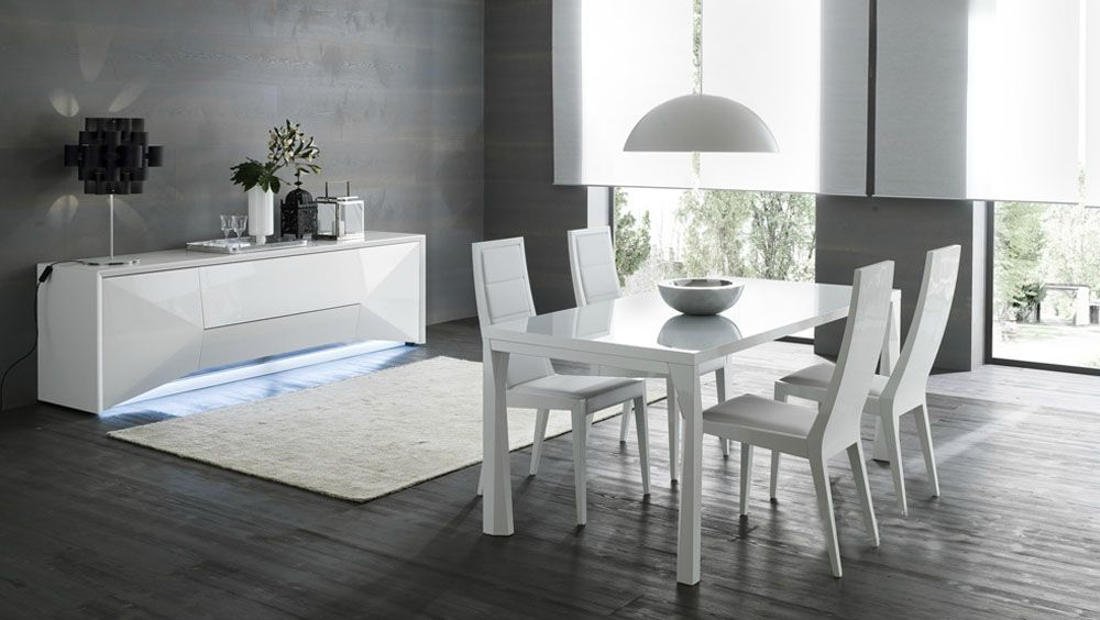 Brilliant Contemporary Dining Room Sets Italian Modern Italian Table With Three Positions And Leather Chairs