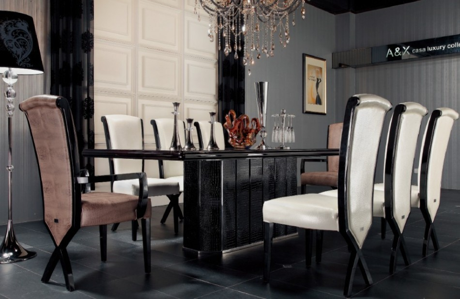 Brilliant Luxury Black Dining Table Luxury Ebony Veneer And Black Crocodile Dining Table
