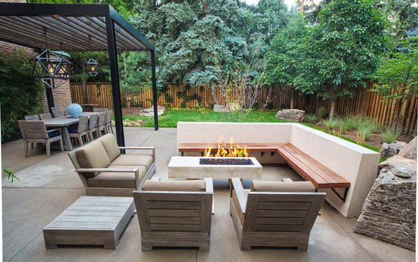 Brilliant Modern Patio Ideas Modern Patio With Corner Patio Bench And Wooden Sofa Furniture