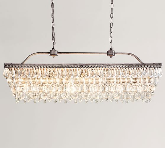Brilliant Rectangle Chandelier Lighting Clarissa Crystal Drop Rectangular Chandelier Pottery Barn
