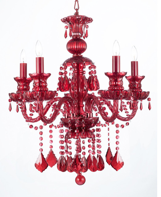 Brilliant Red Crystal Chandelier Ru Red Crystal Chandelier 5 Light Traditional Chandeliers