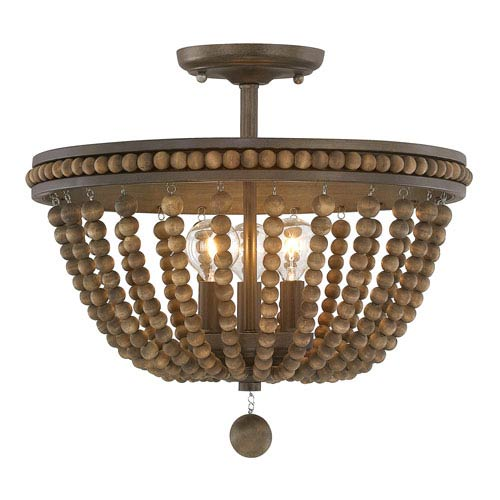 Brilliant Semi Flush Chandelier Austin Allen Co Handley Tobacco With Stained Wood Beads Three