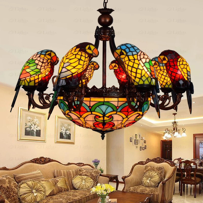 Brilliant Stained Glass Chandelier Creative 11 Light Parrot Shaped Stained Glass Chandeliers
