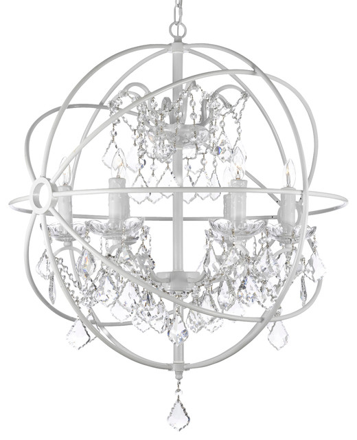 Brilliant White Orb Light Fixture Foucaults White Wrought Iron Orb Crystal Chandelier Fixture