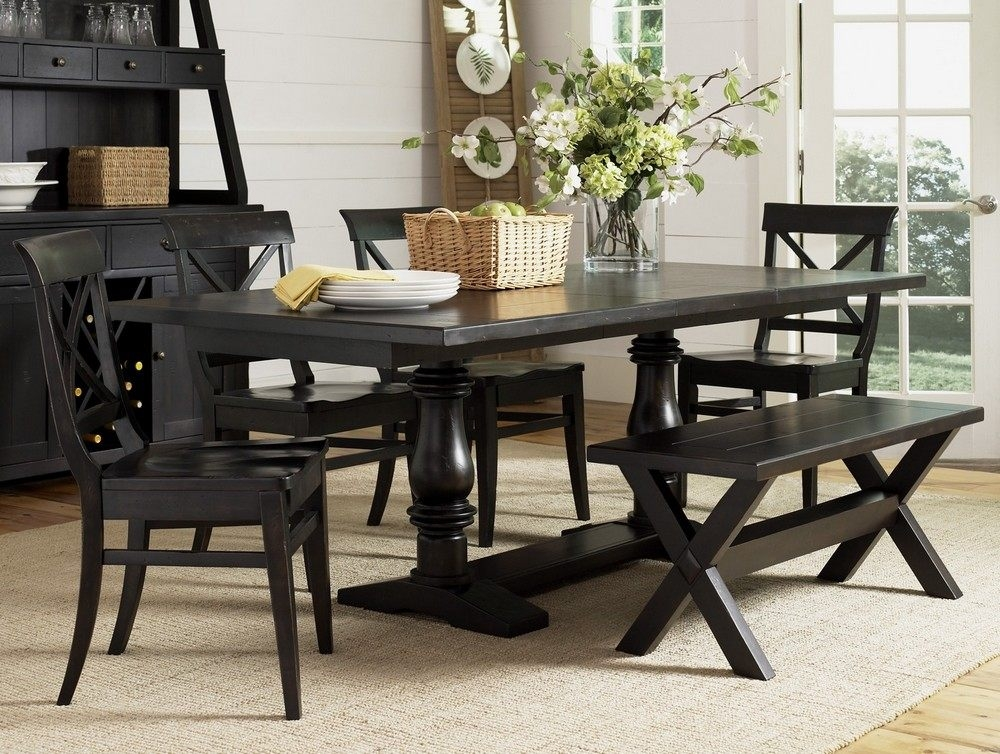 Chic Black Dining Room Set With Bench Black Dining Room Set With Bench 21115