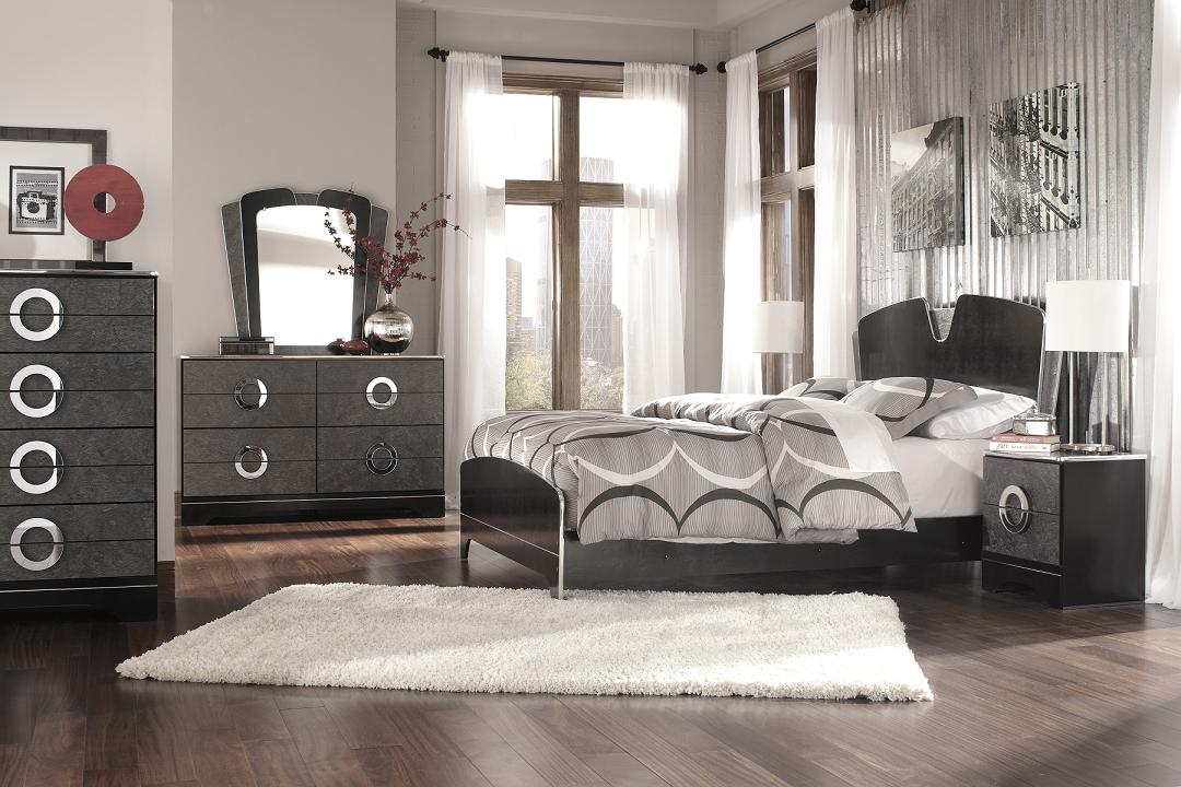 Nice Black Leather Bedroom Set Galaxy Croc Black Leather ...