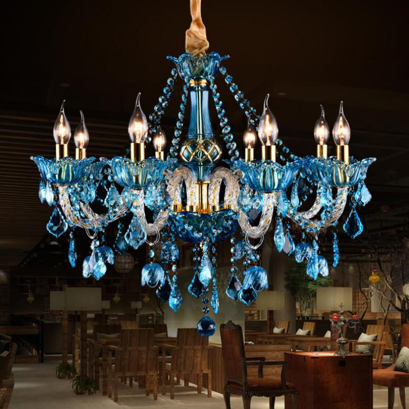 Chic Blue Crystal Chandelier Light Italy Vintage Blue Crystal Chandelier Led Colored Cafe Bar Light
