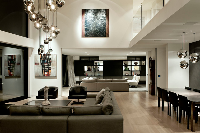 Chic High Ceiling Lighting Lucerne Contemporary Family Room Auckland Daniel