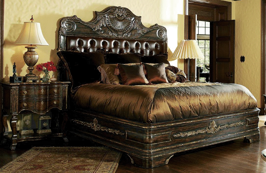 Chic High End Master Bedroom Sets 1 High End Master Bedroom Set Carvings And Tufted Leather Headboard