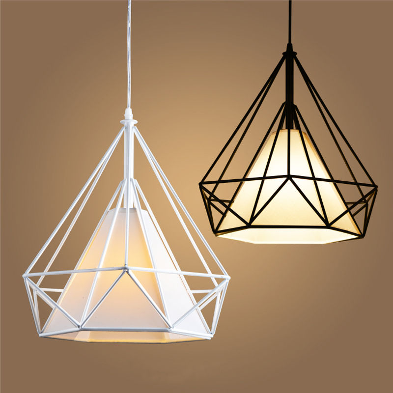 Chic Modern Hanging Ceiling Lights Modern Birdcage Metal Cage Minimalist Pyramid Pendant Light